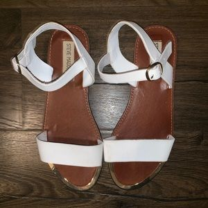 white steve madden strap sandals
